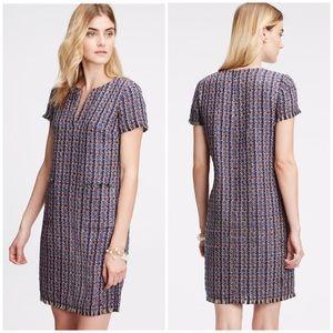 Ann Taylor Fringe Tweed Shift Dress | D483